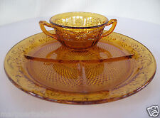 Indiana Glass Amber Daisy #620 Grill Plate & Cream Soup Bowl Luncheon Set