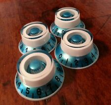 4 Guitar Top Hat volume/tone knobs. Blue Metallic/White. JAT CUSTOM GUITAR PARTS