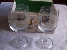 Pair of Ravenhead Commemorative wine glasses 1877-1977 Sherdley Peasley 9oz