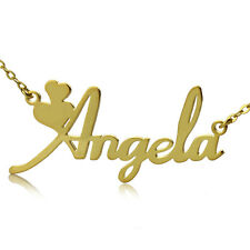 Personalized 18K Gold Plated / Sterling Silver Name Plate Necklace Fiolex Girls