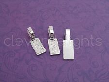 50 Tag Bails - Shiny Silver - 26x8mm - Glue On - Scrabble Glass Pendants Crafts