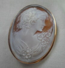 14kt  ITALIAN SHELL INTRICATE CARVED CAMEO PENDANT/BROOCH