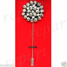 New in box Brand Q Men's Suit brooch gray beads flower lapel pin formal