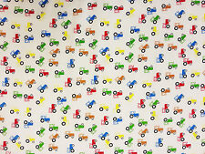 TRACTOR MULTI C45 POLY COTTON DRESSMAKING CRAFT FABRIC FUN CHILDREN'S