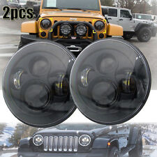 2x Black 7'' CREE LED Projector HI/LO Beam Headlight For Jeep Wrangler JK LJ TJ