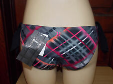 NEW~HURLEY~Side Tie~Low Rise~Hipkini~Bikini~Bottoms~Geometric~Medium~Pink~Black