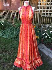 VINTAGE D'ACCORD BY BETTY CAROL ORANGE & HOT PINK FLORAL SLEEVELESS LONG DRESS