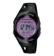 Casio Pre-owned Used STR-300C-1 60 Lap Memory Black Purple Running Watch STR-300