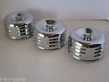 "CHROME 4 5/8"" LOUVERED AIR CLEANER (3) TRI POWER THREE INTAKE 1 OR 2 BBL #2339-3"