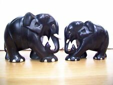 ANTIQUE CEYLON EBONY HAND CARVED WOODEN ELEPHANTS-BULL AND COW