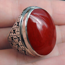 ETHNIC RED CORAL & Solid 925 Sterling Silver Ring Jewelry, Size L-UK, 6-USA