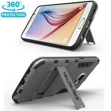 [2015 NEW Outlet] Samsung Galaxy S6 Case [KICK-STAND] Hybrid Dual Armor-Gunmetal