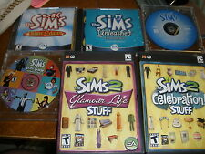6 Sims games Mac Pc 2 expansion, 1 deluxe, 3 regular Livin Large, Unleashed, Cel