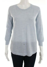 J CREW Light Blue Wool Mesh Knit 3/4 Sleeve Crew Neck Sweater Top Sz S