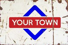 Sign Staines-upon-Thames Aluminium A4 Train Station Aged Reto Vintage Effect