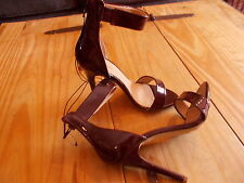 bnwt size 4  dark burgundy patent effect stiletto heeled ankle strap  shoes*