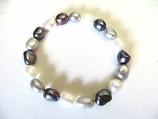 Honora Cultured Multi Color Silver, White and Plum Pearls Stretch Bracelet 6 3/4