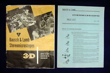 COLLECTIBLE 1957 BAUSCH & LOMB STEREOMICROSCOPE 37 PG CATALOG W/PRICE LIST, MORE