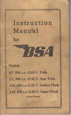 BSA A7 STAR TWIN & A10 GOLDEN / SUPER FLASH ORIG. 1954 OWNERS INSTRUCTION MANUAL