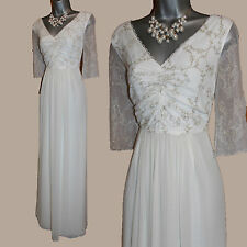 MONSOON Ivory With Gold Embellished V- Neck 3/4 Sleeve Wedding Maxi Dress UK 12