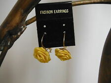 ORECCHINI FASHION EARRINGS COLLECTION ROSE GIALLE PENDENTI YELLOW ROSES SHAPED