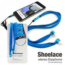 Universal 3.5mm Shoelace In-Ear Stereo Earbuds Hands-Free Headset Headphone