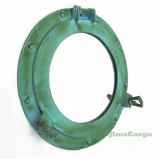 "Aluminum Green Finish 11.5"" Ship's Cabin Porthole Mirror Nautical Wall Decor"