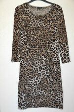 Hobbs merino wool dress jumper dress knitted size 10 leopard print excellent