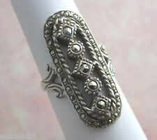 Antique Art Deco Vintage Sterling Silver & Marcasite Oval Cocktail Ring size 5