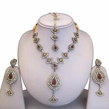 RED BEIGE SILVER COSTUME JEWELLERY NECKLACE EARRINGS DIAMOND SET LIGHT WEIGHT N