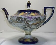 Cobalt Blue yellow and red roses Gilded Nippon Pedestal 2 part tea pot c1890