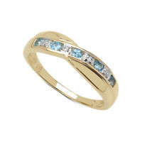9CT GOLD BLUE TOPAZ & DIAMOND CHANNEL SET ETERNITY RING SIZE  I - V ANNIVERSARY