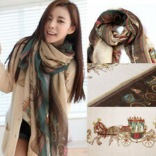 Women Lady Cotton Scarf Wrap Shawl Winter Carriage Print Neck Warm Soft Stole