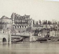 CHÂTEAU D'AMBOISE VUE DES QUAIS LE LONG DE LA RIVIERE  ALBUMINE CHAPU circa 1870