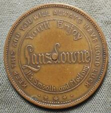 1940s GILT BRASS SPINNER TOKEN OR COIN - LANSDOWNE WHISKEY - HAVRE DE GRACE, MD
