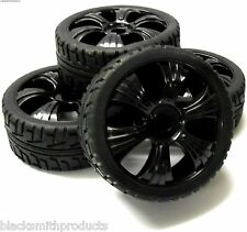 180023 1/8 Buggy Scala RC ruote e su strada BATTISTRADA PNEUMATICI 6 Spoke 4 NERO