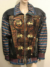 Vtg Quilted Jacket Coat Large Puffer Lions Cats Striped Mismatched Gallery