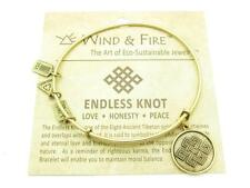 Wind and Fire Endless Knot Charm Wire Bangle Stackable Bracelet Made In USA Gift