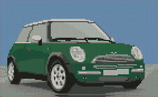 "Mini Cooper Green Counted Cross Stitch Kit 10"" x 6.4"""