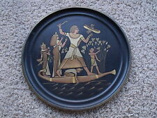 Vintage Egyptian Nile Scene Brass Tray with Mixed Metal Inlays and Etchings