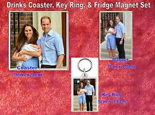 Prince George William and Kate  Drinks Coaster Fridge Magnet & Key Ring  Set