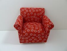 Dolls House Miniature 1.12 Scale Lounge Furniture Modern Red Pattern Chair