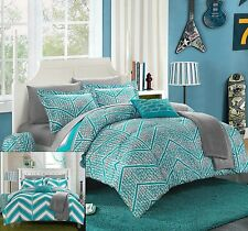 FULL 10 Pc Girls COMPLETE BEDDING SET in Bag Teal Grey Chevron Geometric Teen