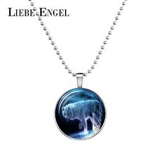 Glow In The Dark Glass Cabochon Pendant Snow Wolf Necklace Women Fashion Jewelry