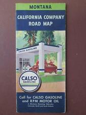 JD361 Vintage 1938 Montana California Company Road Map CALSO Gasoline MT