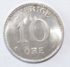 1913, 10 Ore Sweden Silver Rare High Value Great Looking Vintage Coin