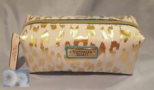 VICTORIA'S SECRET WHITE GOLD CHEETAH PRINT MAKEUP BAG COSMETIC POUCH CASE SMALL
