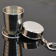 Silver Steel Travel Telescopic Collapsible Shot Glass Emergency Pocket Cup Hot