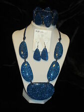 STYLE & CO NWT $74 women's necklace bracelet and earrings set royal blue disco