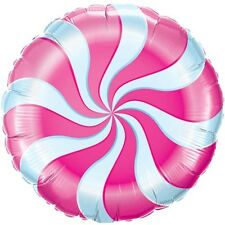 "PINK CANDY CANE SWIRL BIRTHDAY WILLY WONKA PARTY 18"" FOIL BALLOON!"